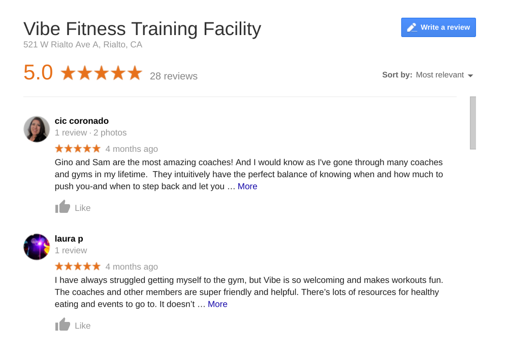 Success Stories and Reviews - Vibe Fitness Training Facility
